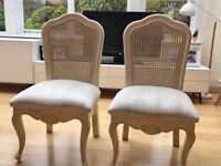 White, solid wood, padded chairs