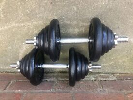 SET OF 18 INCH SOLID BAR DUMBELLS WITH 37KG OF YORK CAST IRON WEIGHTS