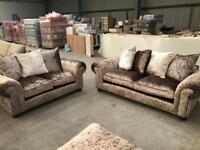Brand new crushed velvet 3 + 2 seater sofa suite