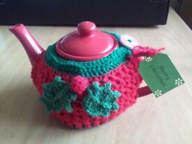 New red teapot with Holly teacosy, cello wrapped