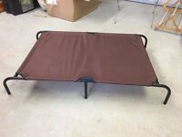 Raised platform steel and canvas dog bed - brown, extra large
