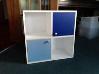 Blue cube storage unit