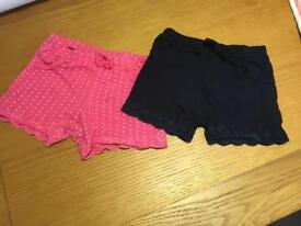 Girls Shorts x Two 9-12 Month's