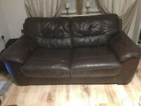 brown leather sofas /settee ++FREE++