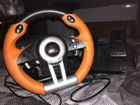PS4 pedal and steering wheel set