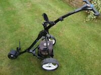 Motocaddy S3 electric golf trolley with 18 battery and charger