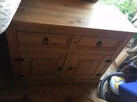 Wooden Side Unit 2 drawers and big cupboard