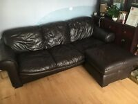 Chocolate leather 3 seater & footstool - bargain!!!