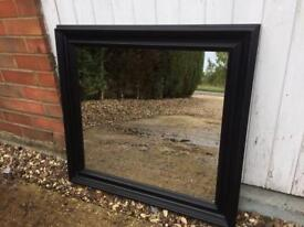 Large mirror black wooden framed overmantel mirror
