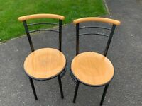 Pair 2 x Solid Blonde Wood & Metal Dining Bistro Chairs