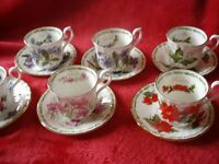 ROYAL KENDAL FLOWER OF MONTH 6 DEMITESSES COFFEE CUPS AND SAUCERS