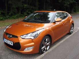 CAR2013 HYUNDAI VELOSTER SPORTS GDI COUPE 1.6 LADY OWNER F.S.H TAXED MOT 16000 MILES.PART X