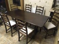 Solid Wood Dining Table 6 Chairs + Protective Cover £125 ONO