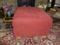 Footstool-terracotta suede VGC-65 x 65 x 43 cms high