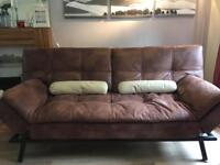 Rich brown soft faux leather sofa bed - SOLD - pending collection.