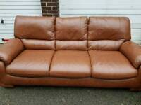 Real Leather 3 x 2 sofa + local delivery