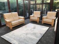 Recor® Of Belgium Miranda 2 Seater Leather Sofa + 2 Armchairs Solid Oak RRP £3700