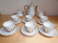Vintage 'Foreign' White/Gold 15 piece (Demitasse) Coffee set - serves 6