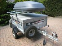 Erde 122 trailer,Roof box,Load bars,Jockey wheel,Spare wheel,Flat cover