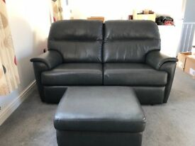 G PLAN 2 SEATER SOFA, RECLINER CHAIR AND FOOTSTOOL. Leather, Grey, Excellent condition!