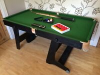 STURDY 6 FOOT BCE FOLDING POOL TABLE WITH CUES AND BALLS