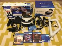 PlayStation 4 VR PSVR Bundle; move controllers, camera, farpoint aim