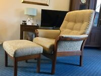 Cintique 2 seater settee, armchair and footstool.