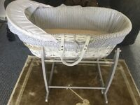 Clair De Lune Moses basket with stand and mattress in grey