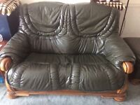 2 seater and 1 seater leather sofa's + foot stool
