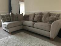 SCS L-shaped cream settee and footstool