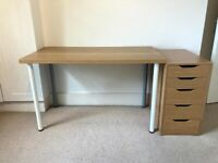 Ikea desk with drawers