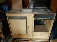 Fridge sink and cooker unit