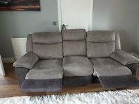 Large 3 Seater Manual Recliner Sofa, perfect cond't..