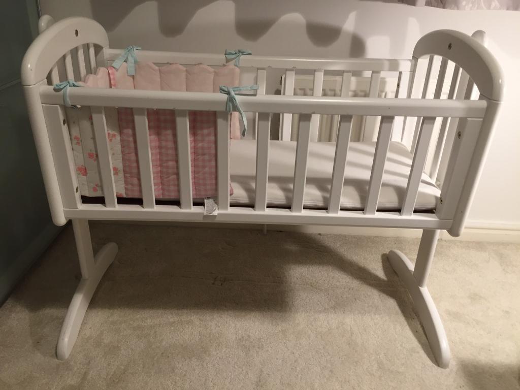 Baby cribs john lewis - John Lewis Anna Swinging Crib White Baby Cot Bed With Matress