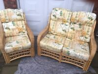 Wicker Two Piece Conservatory Suite With Cushions