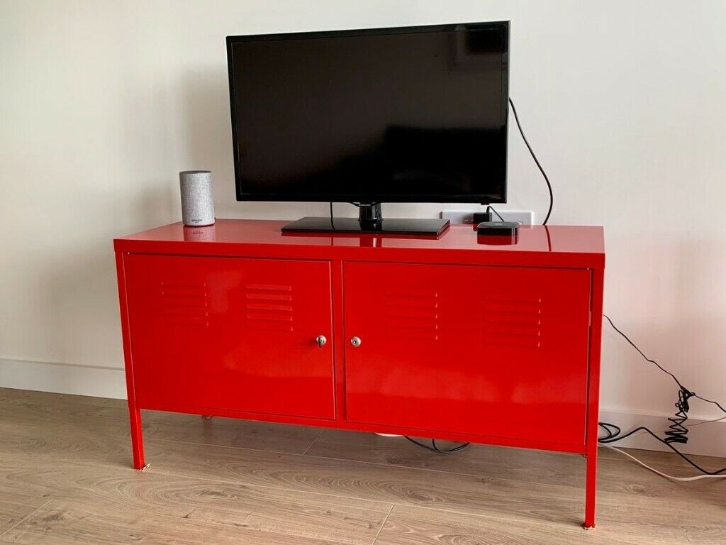 Red Ikea Ps Cabinet Metal Tv Stand Media Storage Sideboard