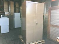 2 DOOR TALL STEEL CUPBOARD / TOOL CUPBOARD BROWN