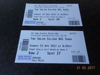 2 TICKETS FOR CLIFFS PAVILION SOUTHEND(SOLID SILVER 60'S SHOW