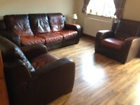 Brown leather 3 piece suite by Natuzzi
