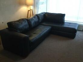 Black leather corner couch sofa