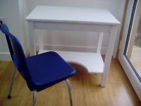 A CHILD'S DESK AND CHAIR-PERFECT FOR A BEDROOM AS AN ART, CRAFT, HOMEWORK OR COMPUTER WORK SPACE.£20