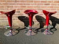 Stool x3, bar kitchen, red chrome, Newtownabbey, £20 each
