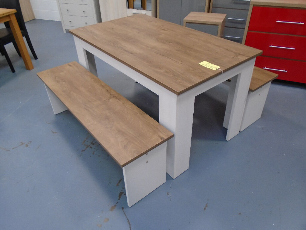 Brand New Dining Table Bench Set 22mm Thick Top Textured White Ash