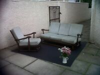 ERCOL 3 SEATER SOFA AND CHAIR