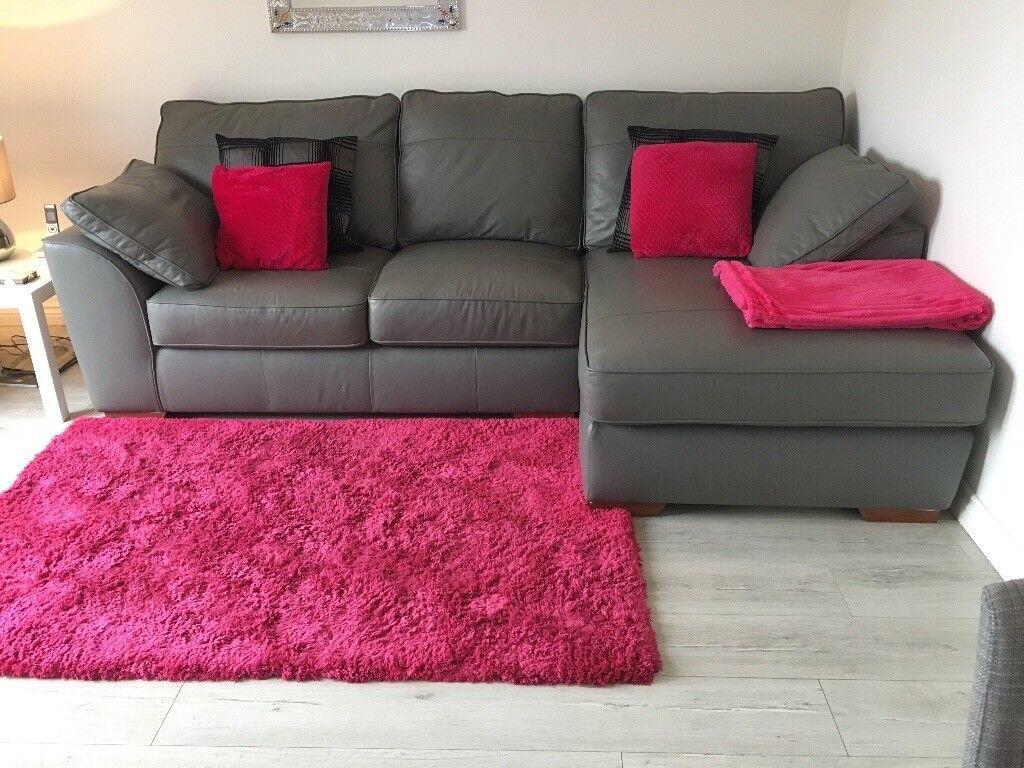 Next French Grey Leather Corner Sofa