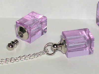 1 small glass Cremation urn locket pendant for necklace New purple
