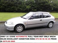 HONDA CIVIC 1.4i AUTOMATIC FULL YEAR MOT EXCELLENT CONDITION FOR YEAR 100 POUND TRADE-IN ON ANY CAR