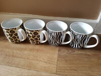 Set of 4 Animal Print Mugs Cups Tableware