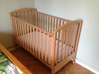 Drop side cot with mattress