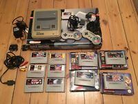 Boxed Super Nintendo SNES Console + 10 Games